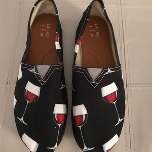 Shoes - Wine print canvas flats! Never been worn!